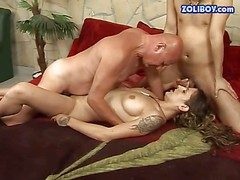 Tattooed brunette protest with nice tits coupled with long whisker gets
