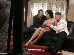 Aletta Ocean with gigantic knockers strips down with respect to