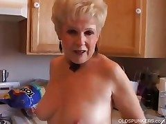 Very blue grandma has a scruffy soaked pussy