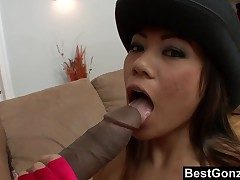 Gigantic Black Manstick vs Small Japanese Cockslut