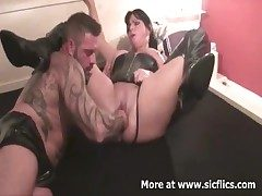 Brutally fisting my wifes huge cunt suck up to she screams