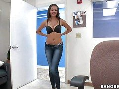 Arousing young anticipating foreigner brunette Bethany Benz with flawless body