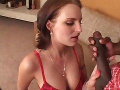She arouses him with lingerie BJ and they have hot sex