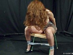 Longing haired obese pale unsophisticated redhead Alice King all round huge
