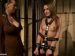 Hardcore BDSM fuck in the air gorgeous lesbians